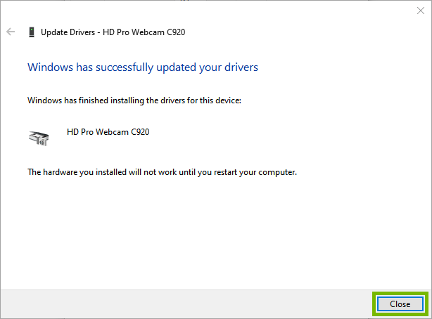 Driver up-to-date with Close highlighted.