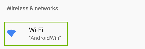 Android Settings with Wi-Fi highlighted.