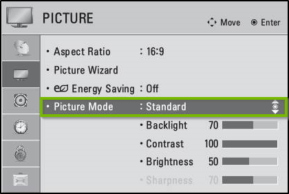 LG Netcast picture menu with standard picture mode highlighted.