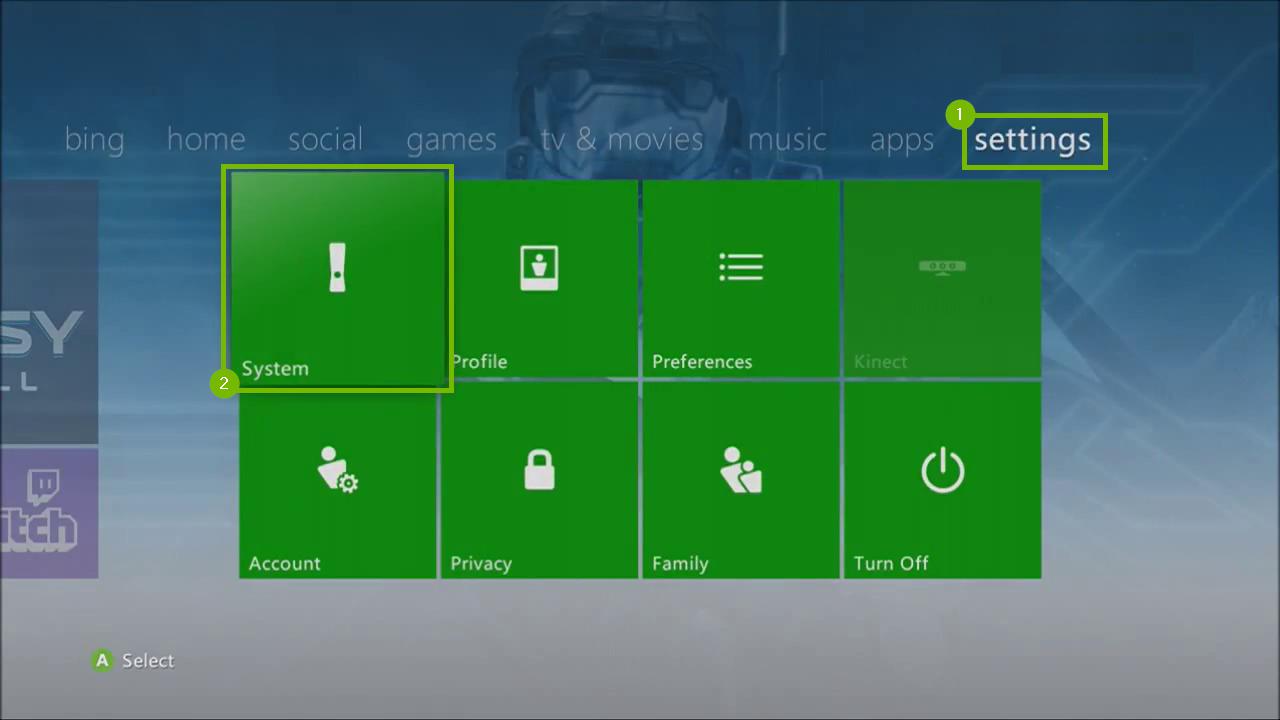 Xbox 360 Settings menu highlighting the System icon.