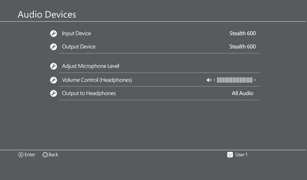 Audio Devices settings on PS4.