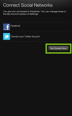Social Media connection screen.