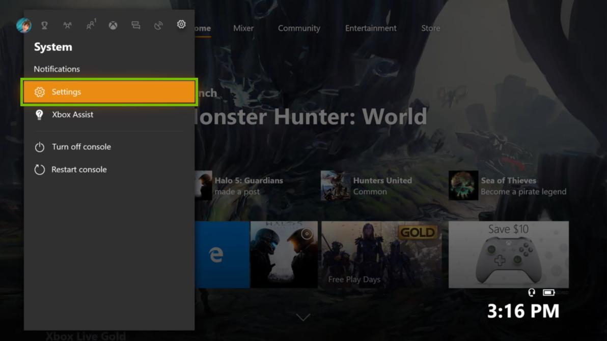 Settings menu selected. Screenshot.