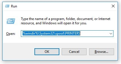 Run dialog box with %windir%\System32\spool\PRINTERS typed in the search