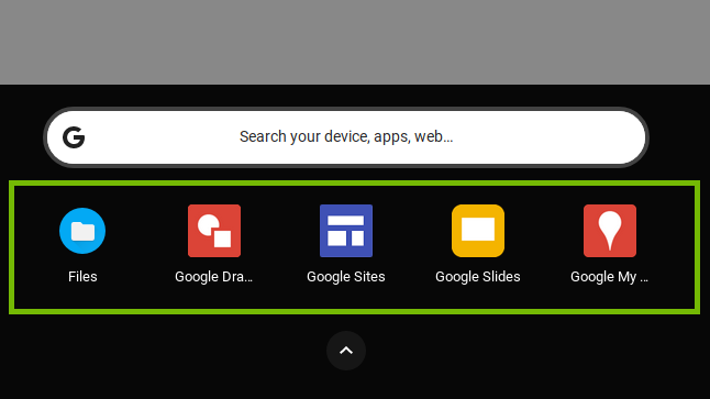 App bar with most used apps.