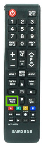 Samsung remote showing the return button highlighted