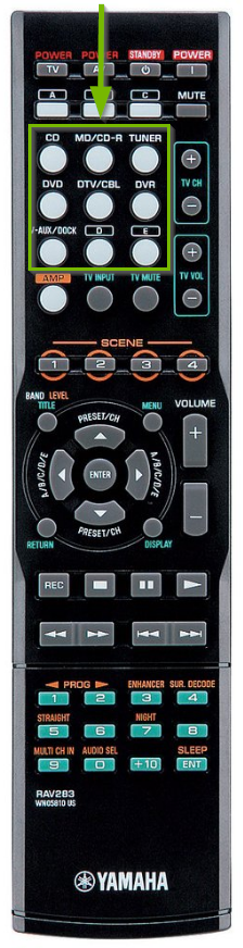 AV receiver remote highlighting button style input selection options.