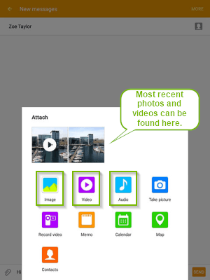 Attachment selection screen with the most recent photos will be shown first. Screenshot.