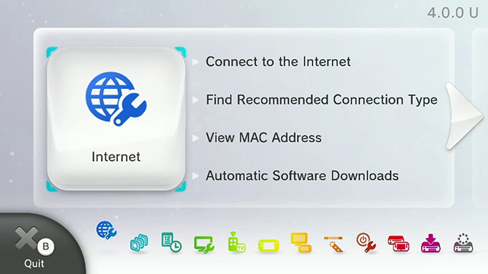 internet settings screen