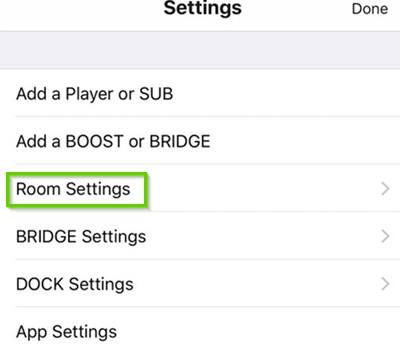 Sonos room settings