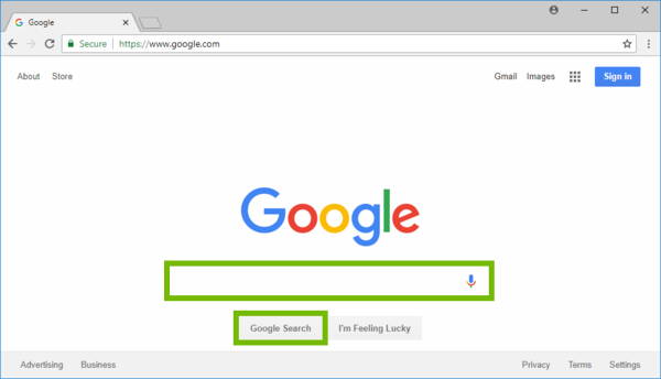 Google search page with search box and Google Search button highlighted.