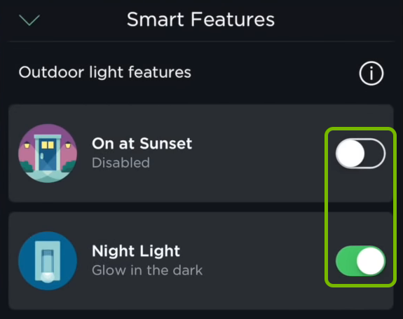 Toggle switches for outdoor lighting smart features in ecobee app.