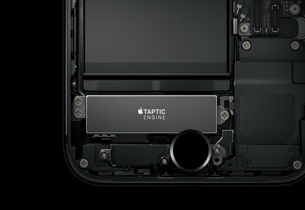 Deconstructed iPhone showing the taptic engine of the device.