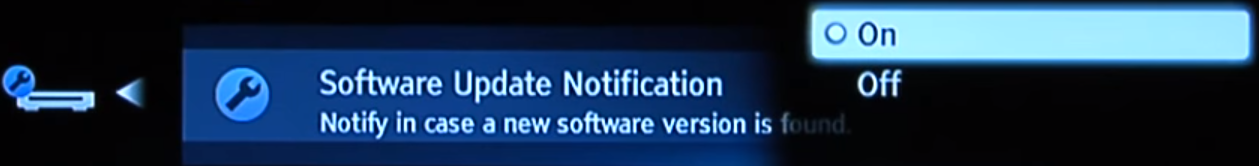 Changing update notification setting
