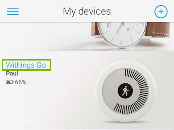 My Devices screen in app, with Withings Go highlighted