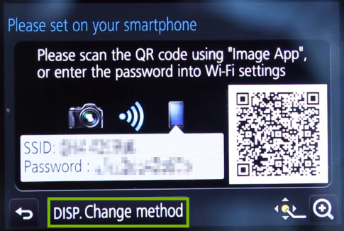 Camera Wi-Fi connection credentials screen