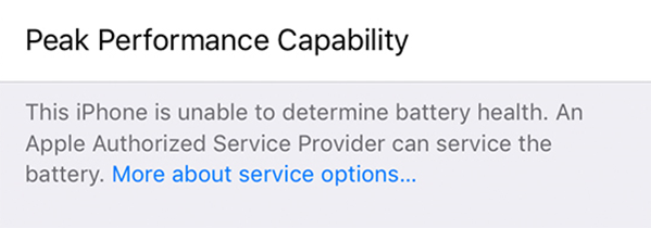 Unable to determine battery health.
