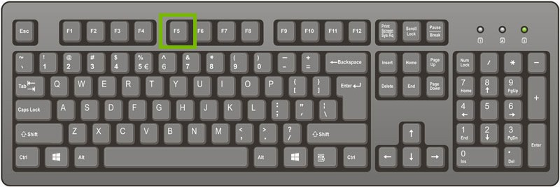 picture of keyboard with F5 key highlighted