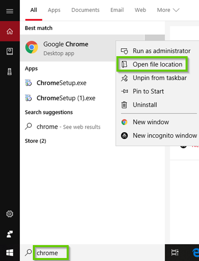 Windows 10 chrome search results showing chrome right clicked