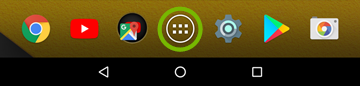 Android home screen with apps button highlighted.