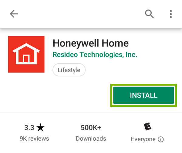 Install button highlighted in Play Store for found app.