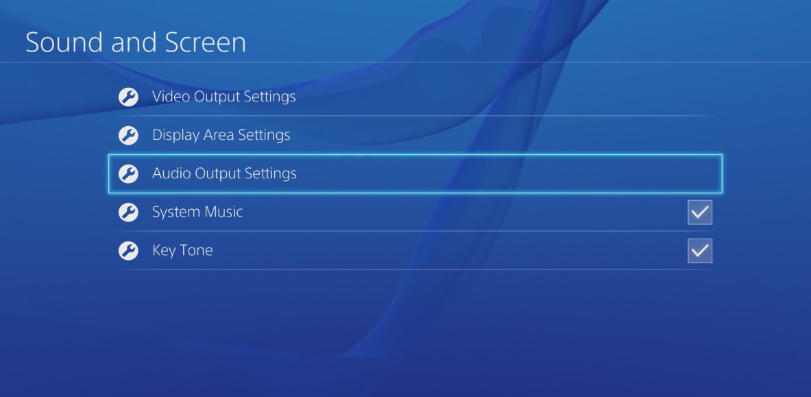 Sound and Screen settings with Audio Output Settings selected. Screenshot.
