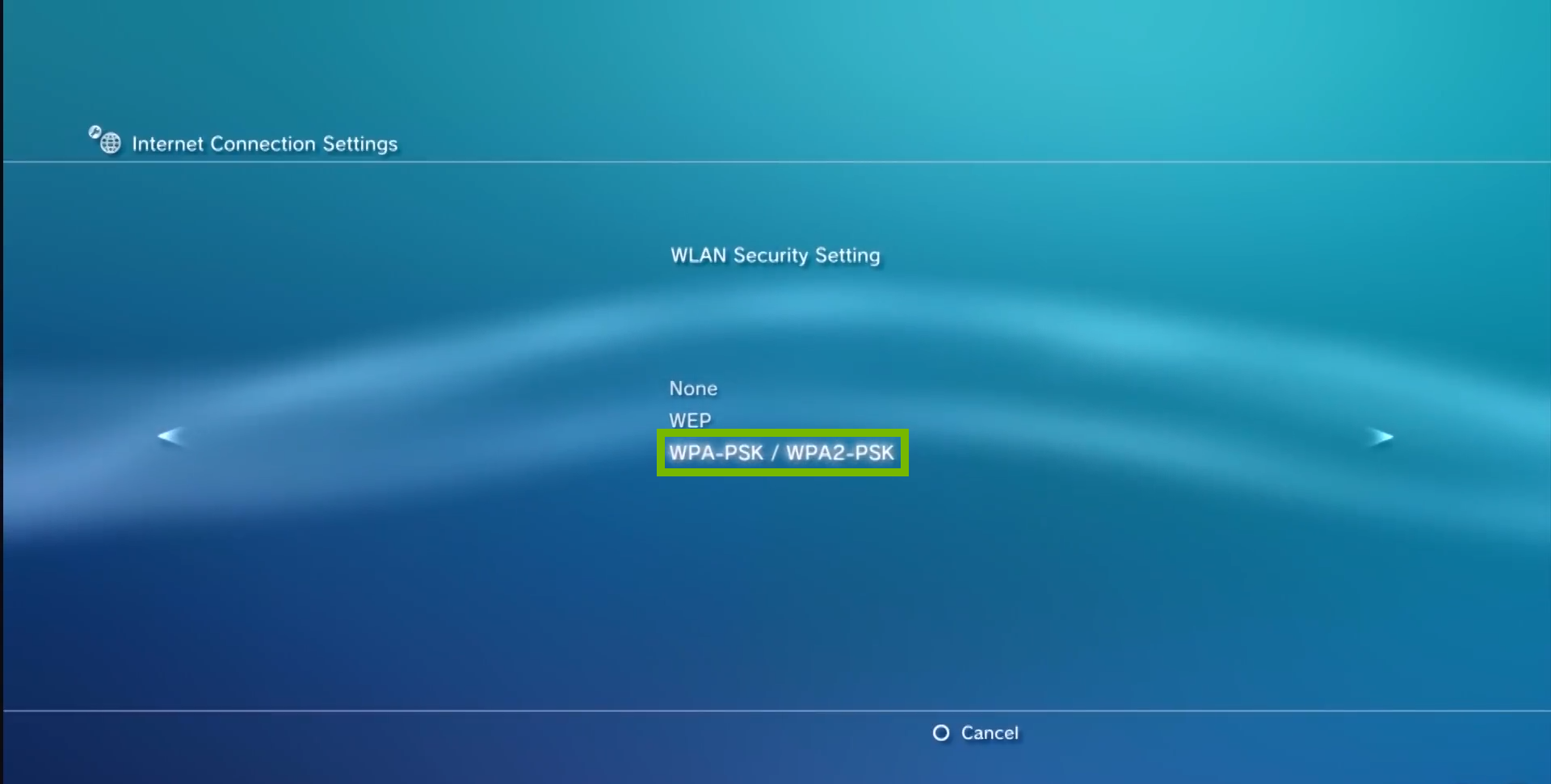 wlan security setting with WPA/PSK and WPA2/PSK highlighted