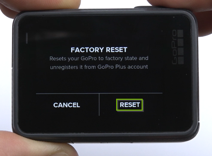 Factory Reset screen with RESET option selected.