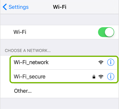 Wi-Fi networks highlighted in iOS settings.