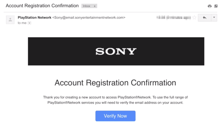 Account Registration Confirmation email.