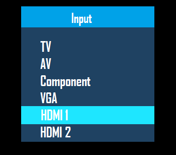 Available inputs with HDMI selected