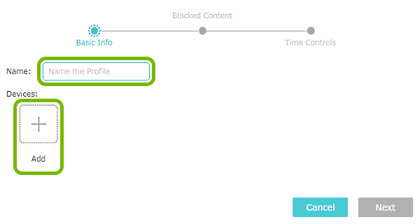 Profile name entry field and Add option highlighted on Parental Controls screen of TP-Link router web interface.