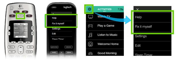 Logitech Harmony remote help button locations.