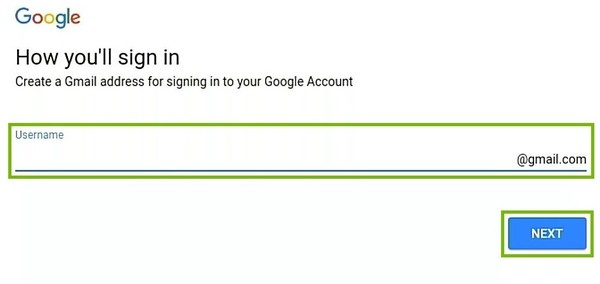 Sign-in username choice with entry field and Next button highlighted.