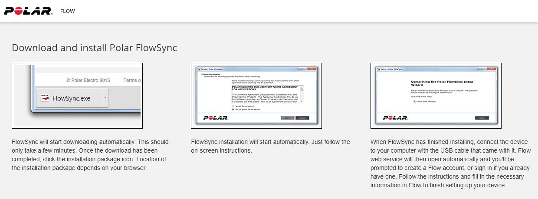 Polar Flow app installation instructions. Screenshot.