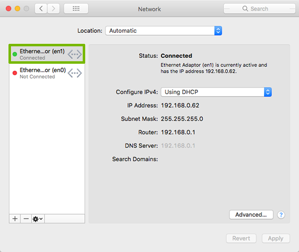 Network Preferences with active connection highlighted.