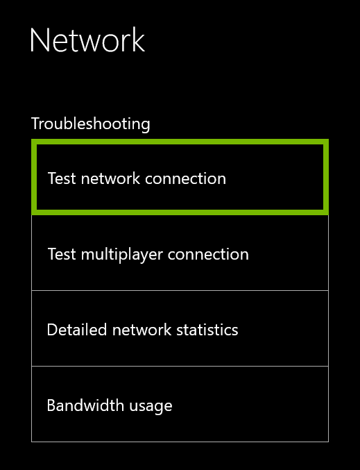 Test Network Connection option highlighted in Xbox One network settings.