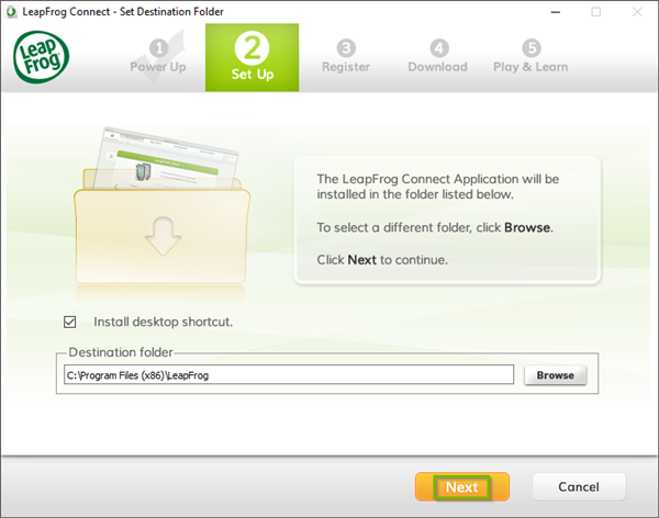 LeapFrog Connect installer with the Next button highlighted.