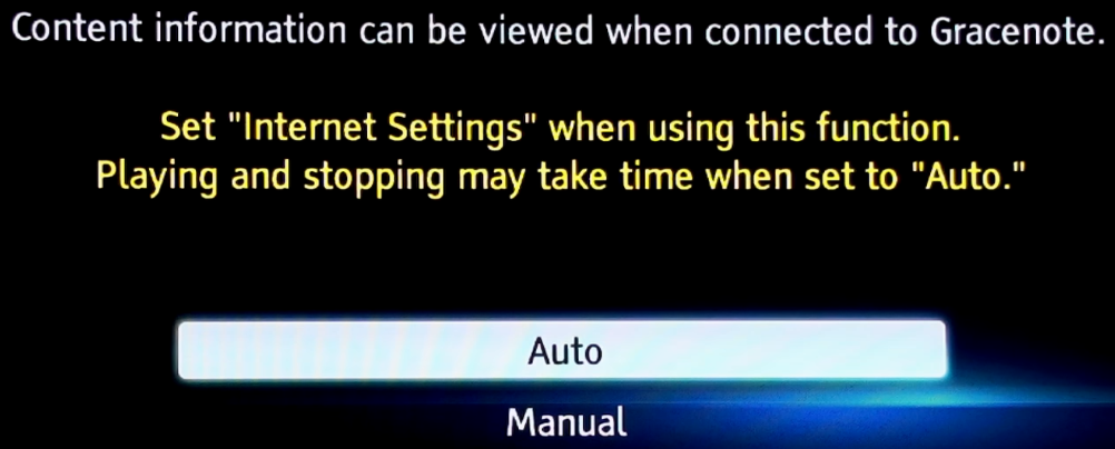 Gracenote settings selection screen