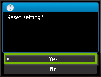 Reset confirmation screen with Yes selected. Screenshot.