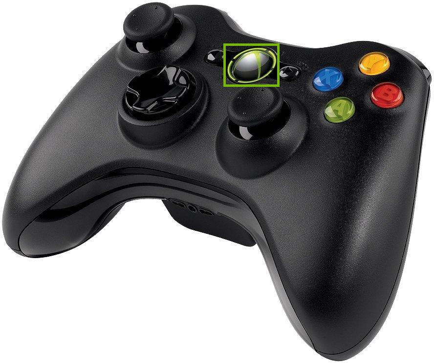 Xbox 360 controller with the Xbox guide button highlighted.