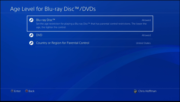 Dvd and blu ray age level settings