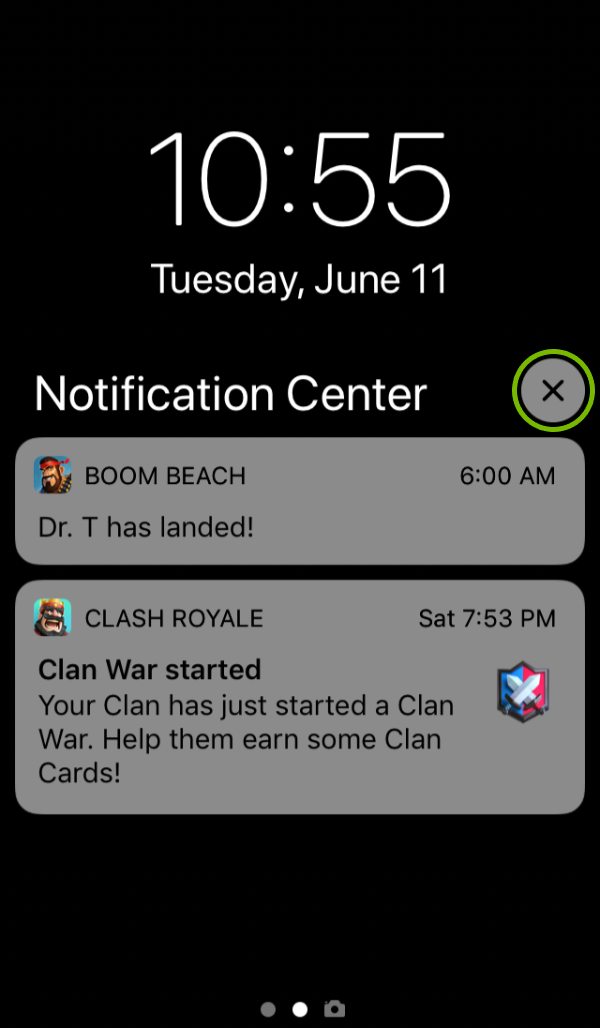 X on Notifications Center