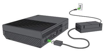 Power cables being unplugged from Xbox One power supply.