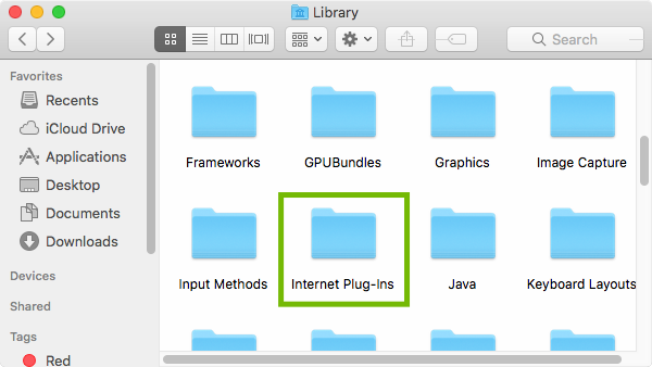 Library with Internet Plug-Ins highlighted.