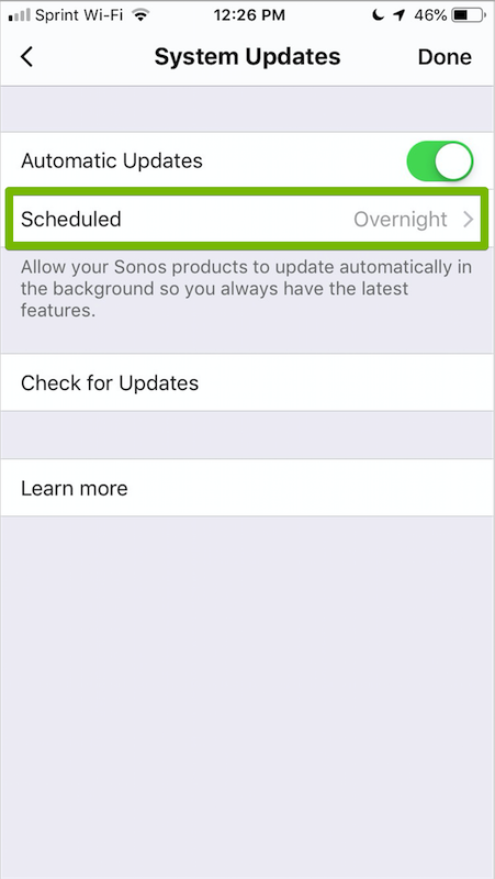Scheduled tab