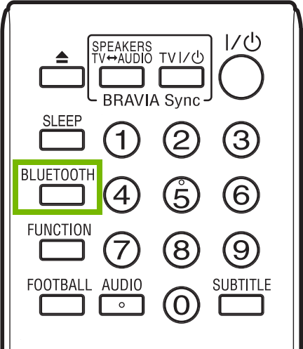 Bluetooth button highlighted on remote.