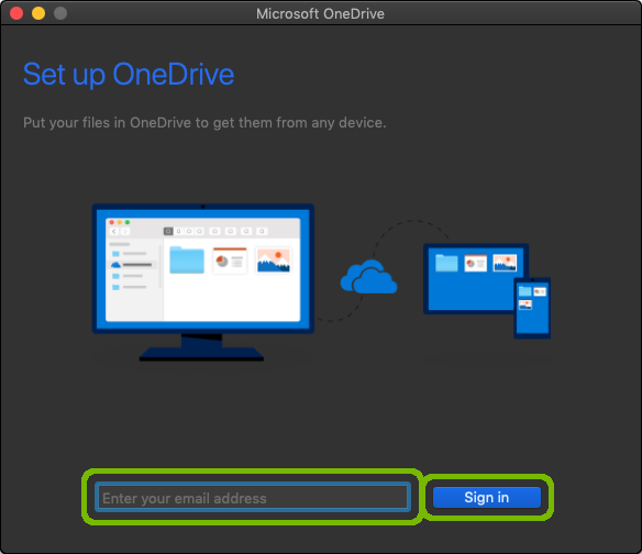 OneDrive setup with email address and Sign in button highlighted.