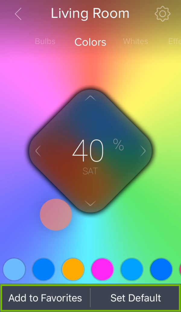 Bottom options highlighted below color picker area in ilumi app.