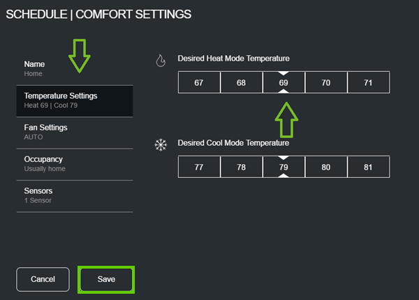 Comfort settings temperature